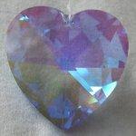 Swarovski-40mm-Sapphire-Aurora-Borealis-Large-Crystal-Faceted-Heart-Prism-0