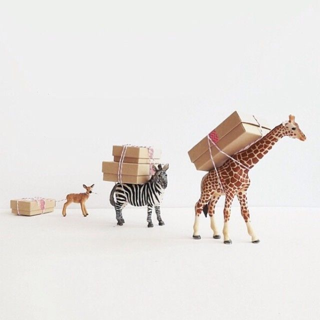 unique gift wrap ideas - small packages with toy animals