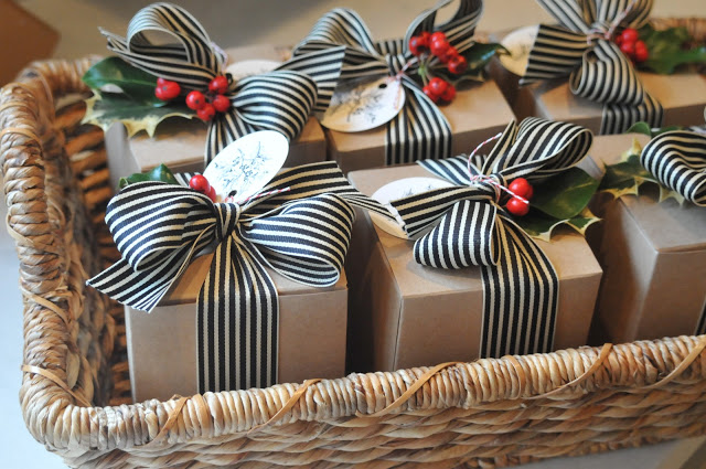 black and white striped ribbon with kraft box christmas gift