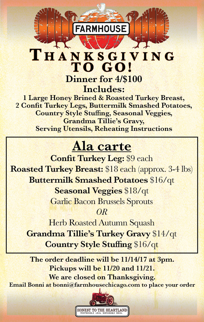 Thanksgiving To Go At Farmhouse Chicago!