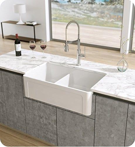 Used Kitchen Sink: LaToscana Reversible Double Bowl Fireclay Farmhouse Sink