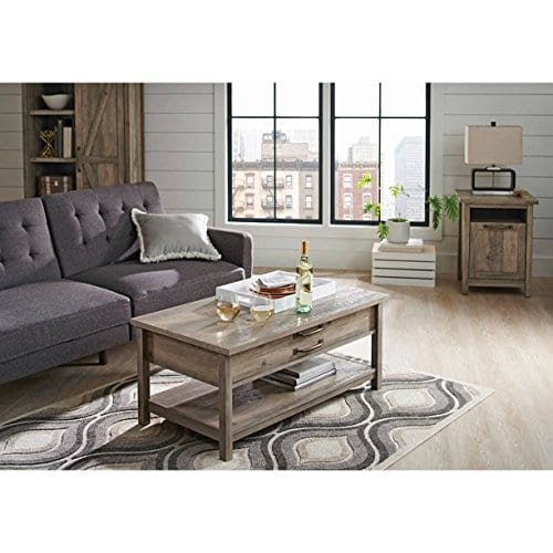 better homes and gardens modern farmhouse top lifts up and forward coffee table rustic gray finish table rustic gray