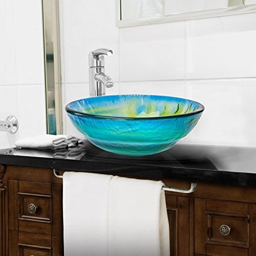 colored bathroom sinks tempered glass vessel bathroom sink yellow blue 12375