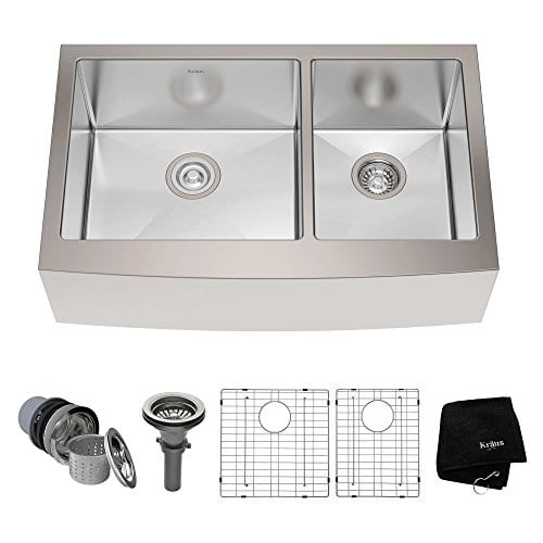 Youu0027re Viewing: Kraus Farmhouse Apron 60/40 Double Bowl 16 Gauge Stainless  Steel Sink, 33u2033 $449.95 (as Of August 28, 2018, 3:30 Am) U0026 FREE Shipping.