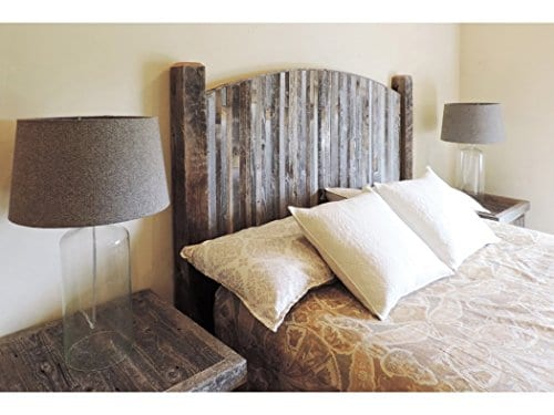 modern farmhouse style arched king size bed headboard with narrow weathered reclaimed wood slats rustic bedroom