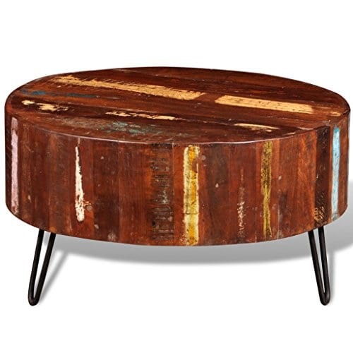 festnight round coffee table reclaimed wood end side table with iron legs pure handmade living room home furniture 28 x 15 diam x h