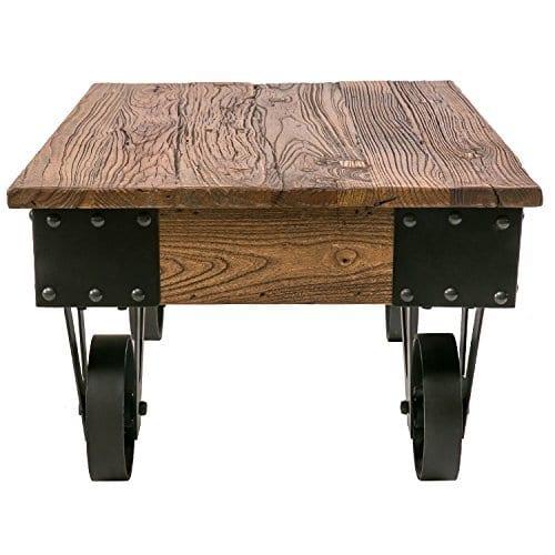 solid wood coffee metal wheels end table living room set rustic brown