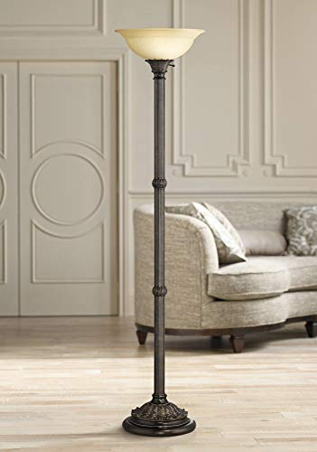 Bellham Traditional Torchiere Floor Lamp Bronze Pale Amber Fluted Glass Shade For Living Room Bedroom Office Uplight Farmhouse Goals