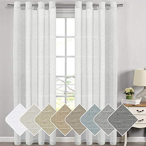 H Versailtex Extra Long Linen Curtains Window Treatments For Living Room Rich Linen Sheer Curtain Panels And Drapes Farmhouse Goals