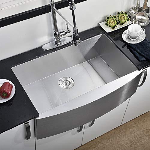 comllen modern commercial 30 inch 304 stainless steel farmhouse sink single bowl kitchen sink 16 gauge 10 inch deep