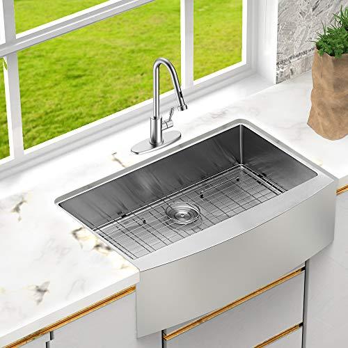 lordear 33 inch farmhouse sink apron front 16 gauge stainless steel tight radius deep single bowl farm kitchen sinks