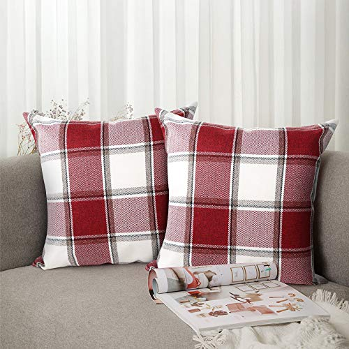 red plaid pillow covers online