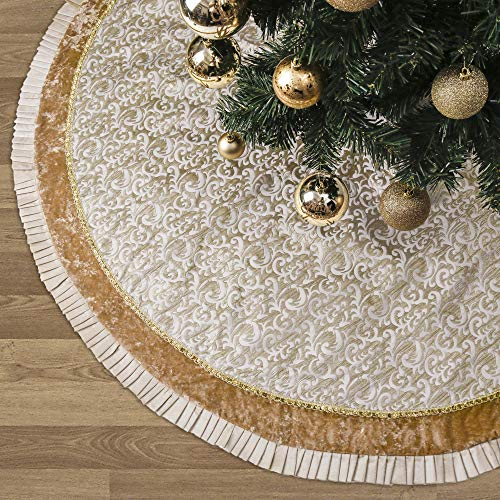 Valery Madelyn 48 Inch Luxury Gold Christmas Tree Skirt With Baroque Patterns And Ruffle Trim Themed With Christmas Farmhouse Goals