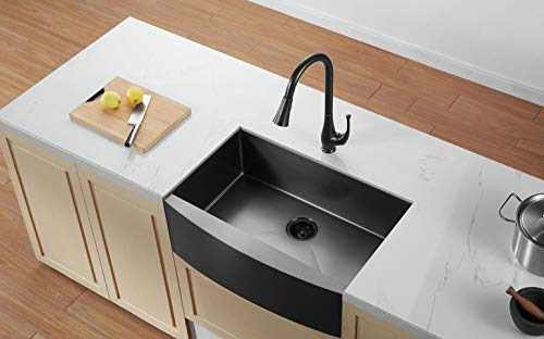 33 black farmhouse kitchen sink alwen matte surface apron front farm sink 16 gauge 304 stainless steel single bowl