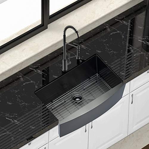 33 farmhouse sink black ghomeg 33 inch kitchen sink gunmetal black 16 gauge stainless steel single bowl apron front