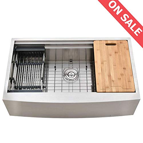 kingo home 33 inch 9 inch 18 gauge single bowl handmade stainless steel drop in farmhouse apron front workstation