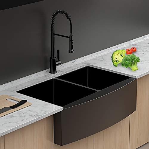farmhouse kitchen sink double bowl lordear 33 inch kitchen sink apron front gunmetal matte black 16 gauge stainless