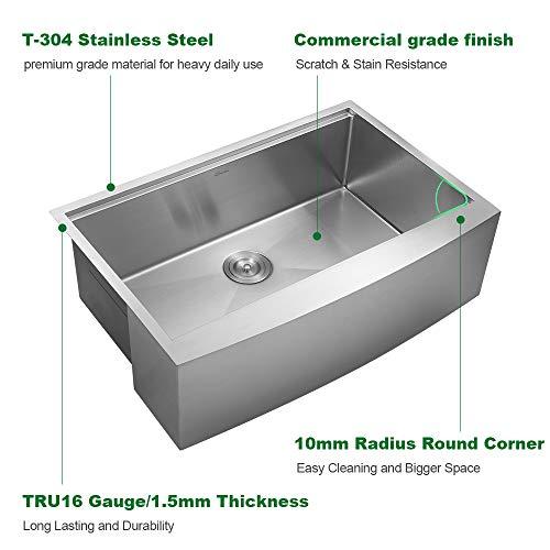 27 inch farmhouse sink apron front