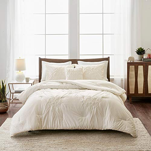 4 piece cottage off white comforter set king cal king aesthetic all over diamond shape tufted pattern pintuck comforter