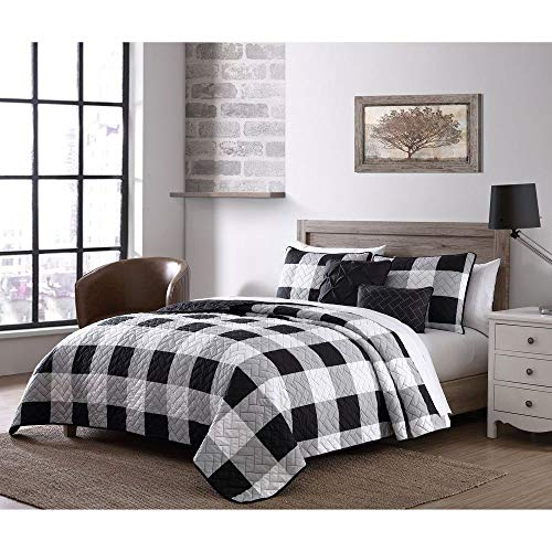 5 piece cottage black white quilt queen size graceful buffalo check print all over brick style quilted plaid quilt set