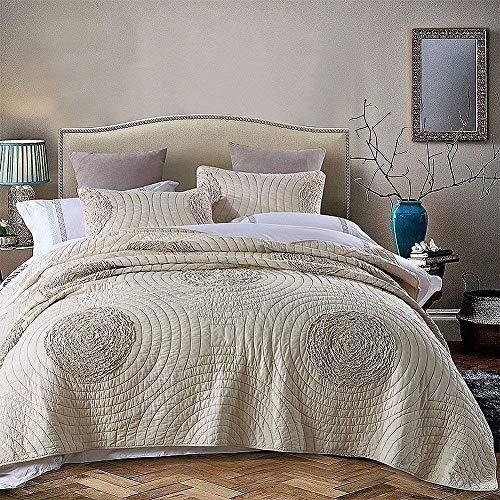 brandream shabby farmhouse quilt bedding sets king size quilt set beige vintage 100 cotton queen size bedspread set 3