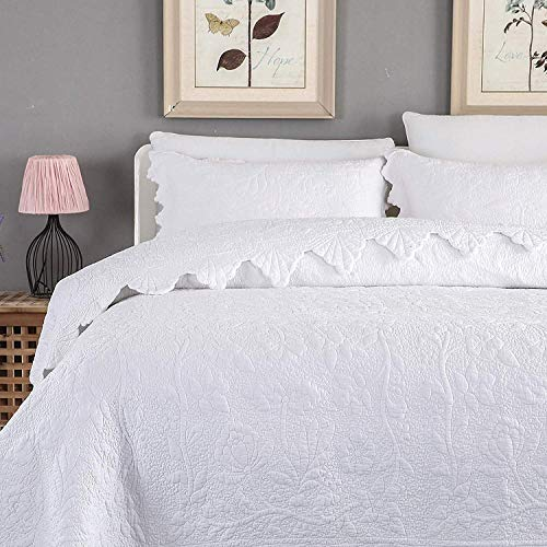 brandream white quilts set queen king size coverlet set farmhouse bedding 100 cotton queen size quilted bedspreads