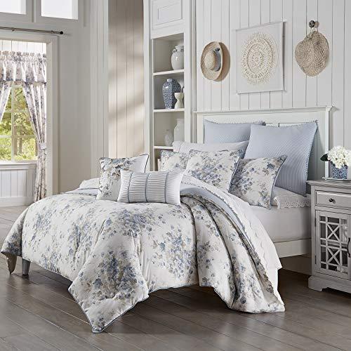 five queens court frannie 100 cotton floral farmhouse comforter set blue king 110x96