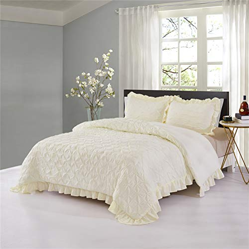 hig pinch pleated comforter set king ivory lace ruffled super soft hypoallergenic prewashed microfiber shabby chic