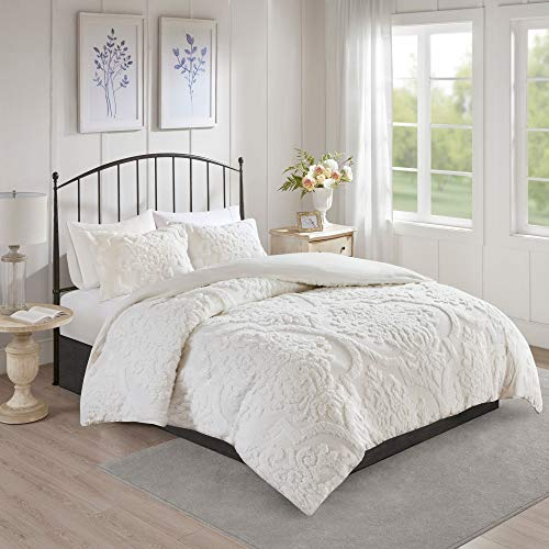 misc 3 piece white tufted chenille duvet cover set king cal king size textured 3d damask pattern farmhouse style bedding