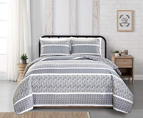 reversible paisley striped bedspread full queen size quilt with 2 shams 3 piece reversible all season quilt set grey
