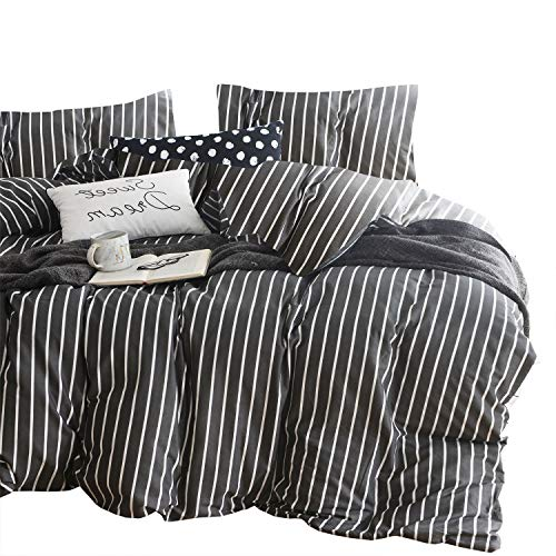 wake in cloud gray striped comforter set 100 cotton fabric with soft microfiber fill bedding white vertical stripes