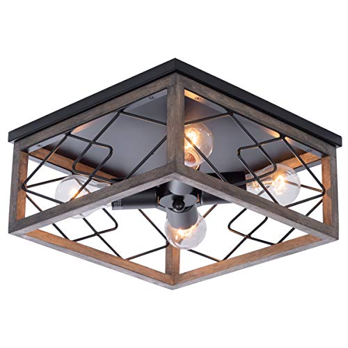 viluxy farmhouse rectangle flush mount ceiling light fixture with wood shade for living room hallway entryway passway
