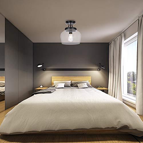 krasty industrial farmhouse seeded glass matte black semi flush mount ceiling light ceiling lighting fixtures with
