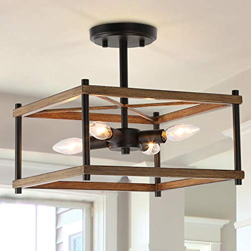 ksana semi flush mount ceiling light farmhouse light fixtures ceiling with faux wood finish for kitchen dining room