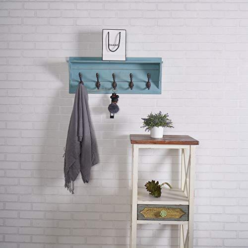 set of 2 coat rack shelf wall mounted 5 hooks wooden rack decorative for bathroom bedroom kitchen mudroom blue
