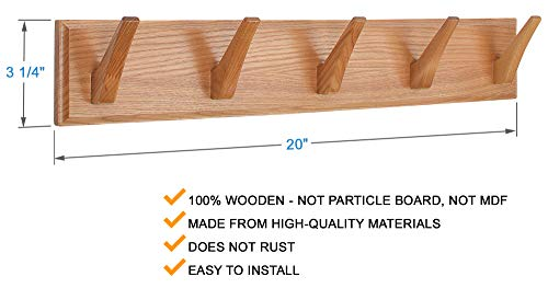 wall mounted coat rack wood hook rack for coat clothes hats and towels wooden peg rack for use in bedrooms bathrooms