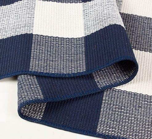 nanta navy blue and white cotton buffalo plaid check rug 27 5 x 43 inches washable woven outdoor rugs for layered door