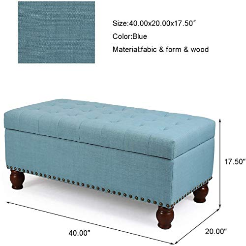 asense fabric rectangle tufted lift top storage ottoman bench footstool with solid wood legs nail head trim