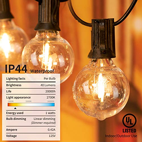 brightown led g40 outdoor string lights 50ft patio lights with 51 led shatterproof bulbs 1 spare weatherproof