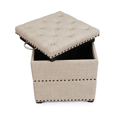 decent home storage ottoman cube foot rest stool square coffee table with tray lid beige