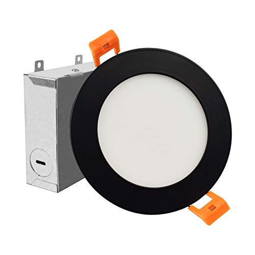 ostwin 4 inch ultra thin led recessed ceiling light with j box 9w 45watt eqv dimmable ic rated color temperature