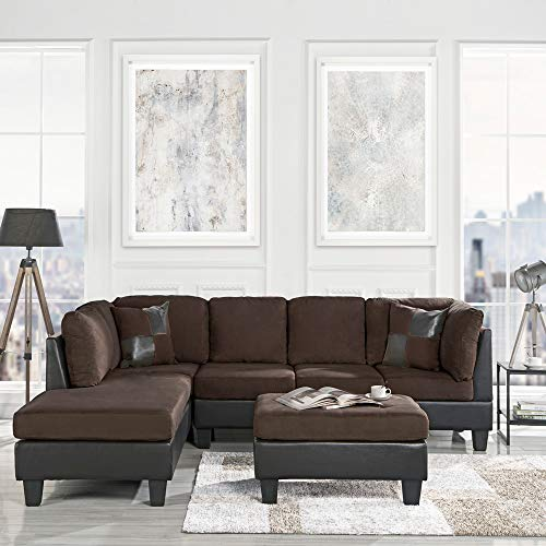 casa andrea modern 3 piece microfiber and faux leather sofa and ottoman set 102 w brown