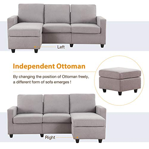 honbay grey sectional couch with ottoman convertible l shaped chaise sofa set sectional with left or right facing grey