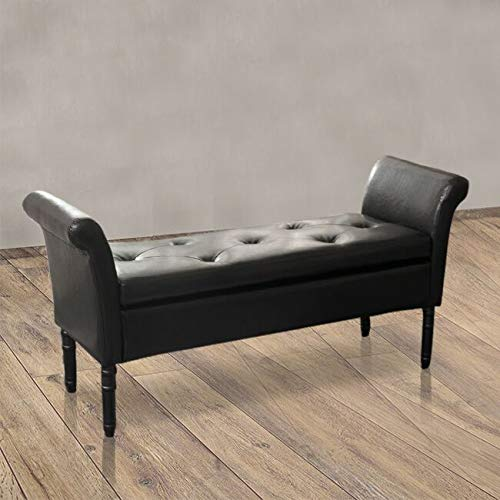 modern pu leather storage ottoman bench tufted bed bench for living room bedroom pu black