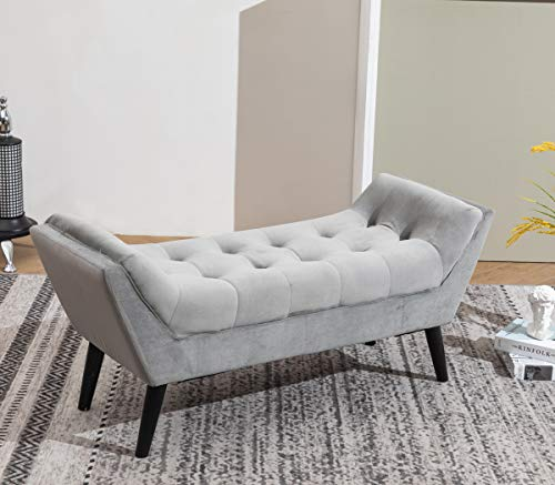 tufted upholstered bench fabric ottoman bench for bedroom living room entryway hallway gray with wood legs