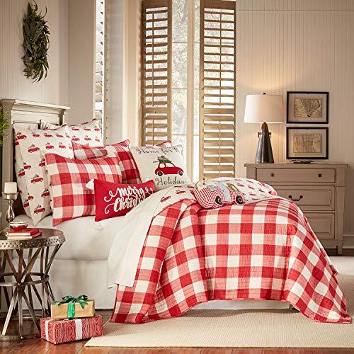levtex home road trip quilt set full queen quilt two standard pillow shams festive farmhouse buffalo check red