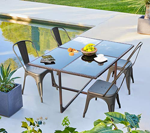 furniwell 5 pieces patio dining set outdoor wicker table metal chairs set with tempered glass top patio furniture dining table set for balcony
