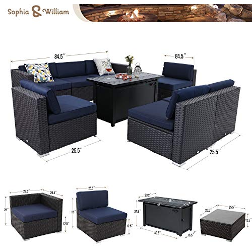 sophia william patio furniture sectional sofa set with gas fire pit table 9 piece wicker rattan outdoor conversation sets w coffee table csa