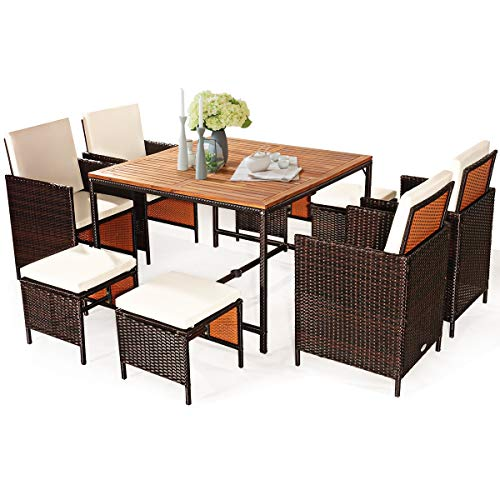 tangkula 9 pieces wood patio dining set space saving wicker chairs and wood table with umbrella hole outdoor furniture set suitable for garden