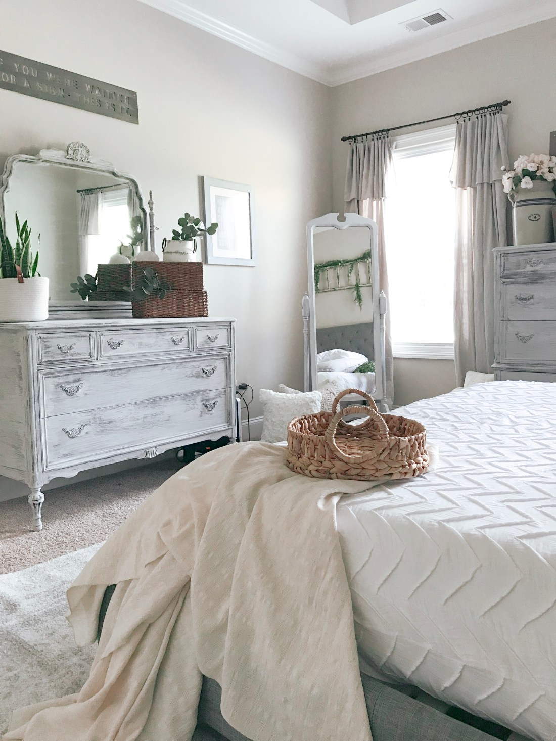 Master Bedroom Dropcloth Curtains - Farmhouseish